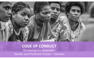Code of Conduct for Emergency Responders. Gender and Protection Cluster – Vanuatu