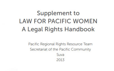 Supplement to LAW FOR PACIFIC WOMEN A Legal Rights Handbook
